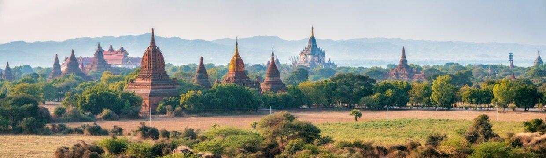 Panoramic view of historic temples in Old Bagan, Mandalay Region, Myanmar