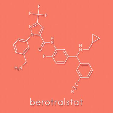 Berotralstat hereditary angioedema drug molecule. Skeletal formula.