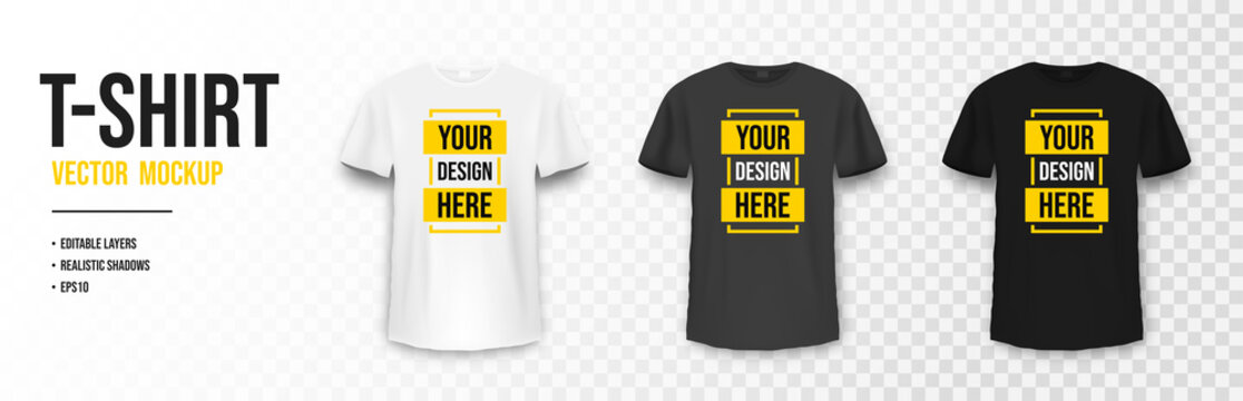 T-shirt mockup in white, gray and black colors. Mockup of realistic shirt with short sleeves. Blank t-shirt template with empty space for design