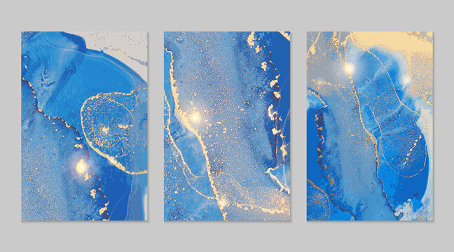 Blue and gold stone marble pattern with glowing lights. Abstract vector background in alcohol ink technique. Modern paint with glitter. Set of templates for banner, poster design. Fluid art