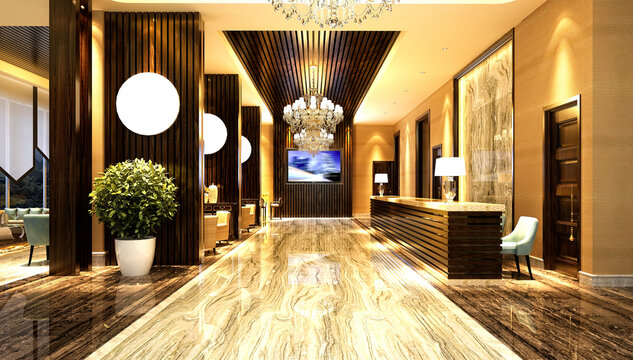3d render of luxury hotel reception, entrance hall and lobby