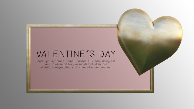 3D rendering image of valentine's day background