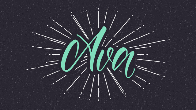 Ava Name Vector Typography with Starburst