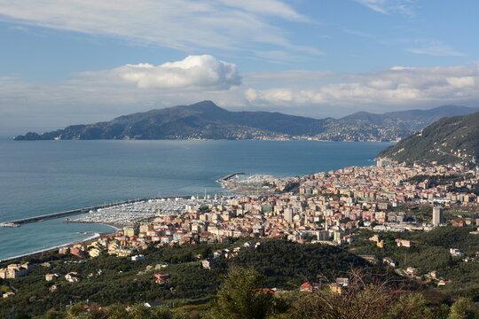 View of Tigullio gulf, Lavagna, Chiavari and Portofino promontory as seen from Santa Giulia di Centaura. Liguria. Italy
