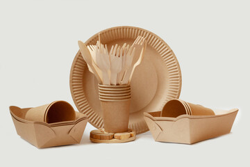 Fototapeta different paper dishes, eko cardboard dishes