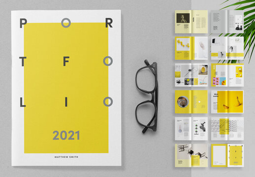 Portfolio Layout with Yellow and Gray Accents