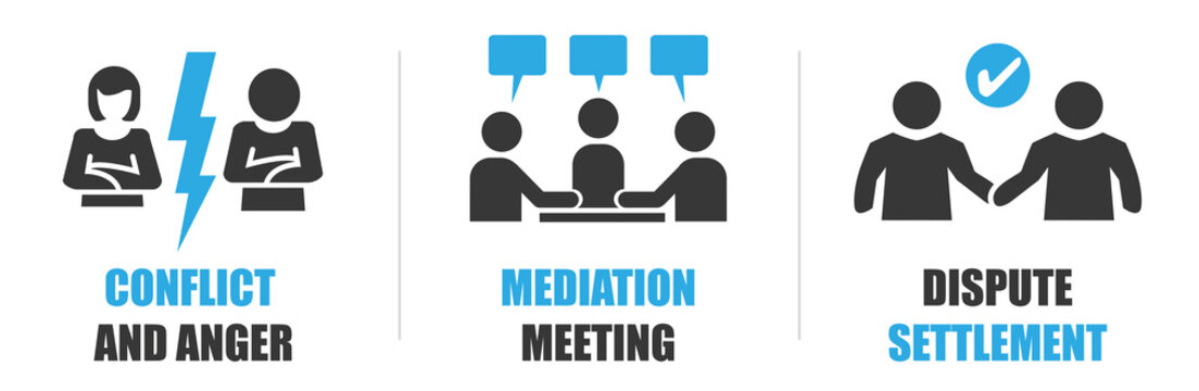 Conflict resolution and mediation vector illustration concept