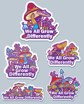 Set of stickers with mushrooms