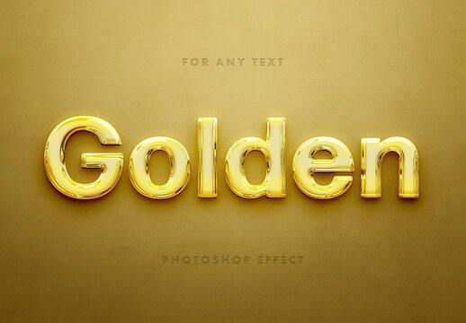 3D Glossy Gold Metal Text Effect