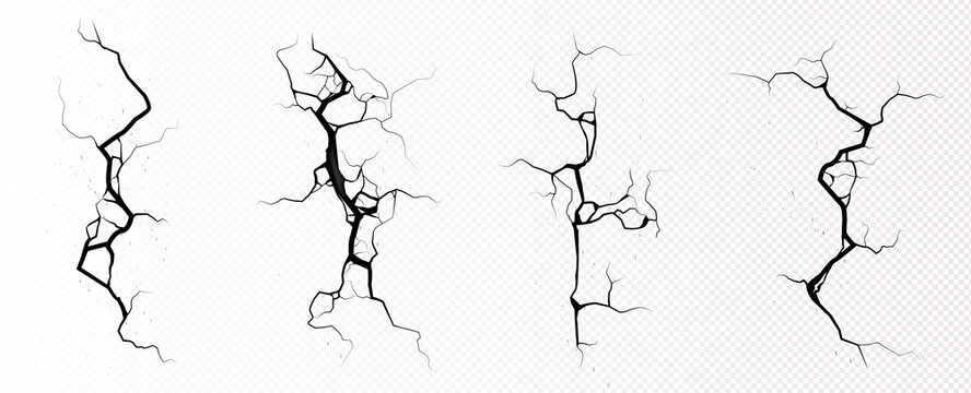 Ground cracks, breaks on land surface from earthquake isolated on transparent background. Vector realistic set of fissure in ground, crevices from disaster or drought, black fractures top view