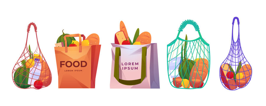 Net, paper and cotton shopping bags with grocery isolated on white background. Vector cartoon set of reusable eco package, mesh bags with fresh food, fruits, vegetables, milk and bread