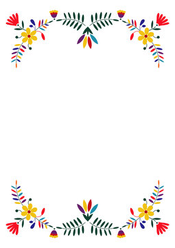 Mexican embroidery style. Design template for fiesta invitation, wedding and birthday invitation card, greeting card, restaurant menu