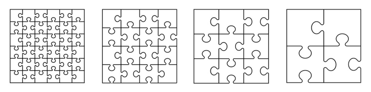 Puzzles grid - blank template. Puzzle pieces vector set. Puzzle jigsaw on white background. Set of puzzle pieces. Vector illustration