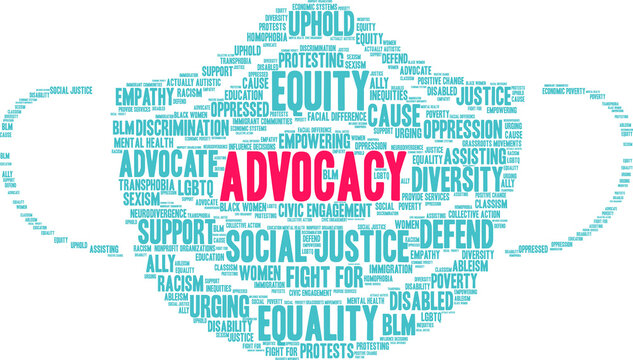 Advocacy Word Cloud on a white background.