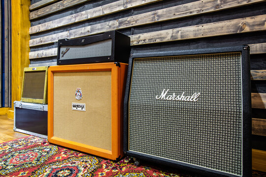 Milton Keynes, Great Britain - September 23, 2020:  Marshall and Orange cabinets