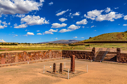 Bolivia. Tiwanaku (or Tiahuanaco) - Pre-Columbian ancient and sacred site on a list of the UNESCO World Heritage Site. Semi-Subterranean Temple