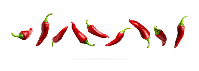 Red fresh chili pepper isolated on white background. Seasoning for dish, hot pepper, spicy spices for cooking, cayenne pepper, food. Set of peppers of different shapes for your design