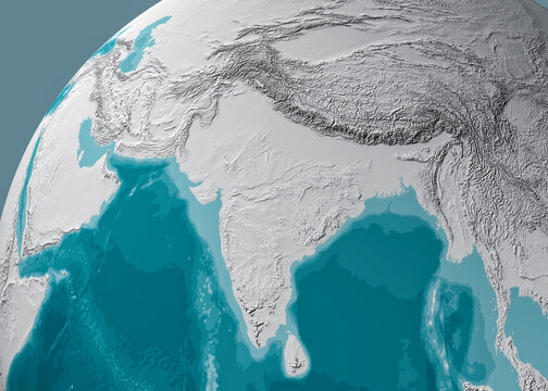 Globe map of Asia, satellite view, geographical map, physics. Cartography, relief atlas. 3d render. India, Sri Lanka, Pakistan, Nepal and Himalaya mountains. Bathymetry, underwater depth of ocean