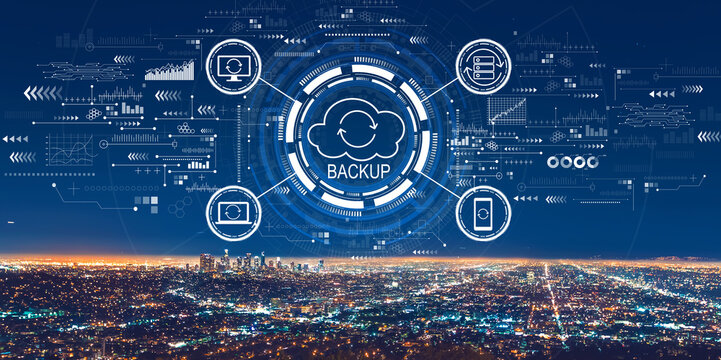 Backup concept with downtown Los Angeles at night