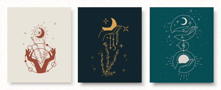Boho doodle magic set. Mystic simple hand drawn logo icons. Witchcraft culture. Harmony and zen. Crescent moon magic symbols. Vector illustration