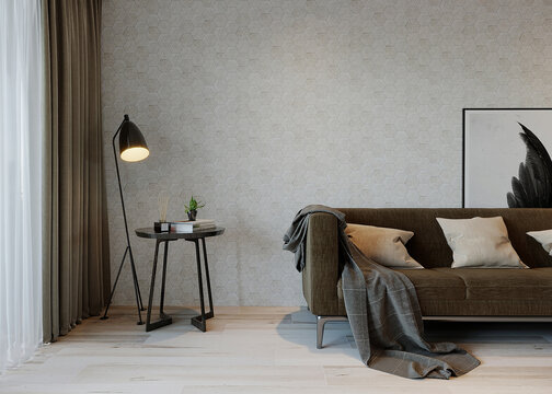 Living interior with sofa, lamp and coffee table, 3d render