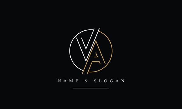 VA, AV, V, A Letter Logo Design with Creative Modern Trendy Typography