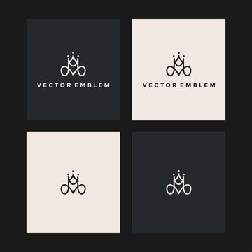 initials m crown logo vector icon illustration
