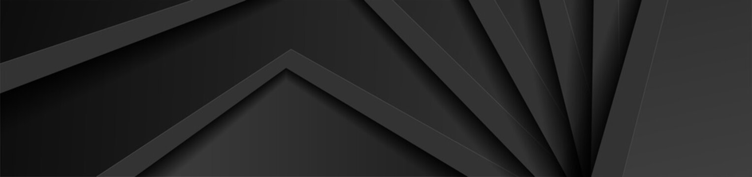 Black 3d abstract corporate background. Geometry vector banner design