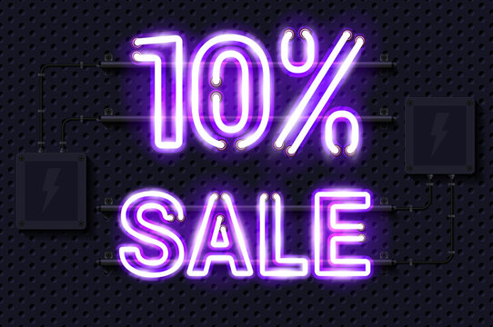10 percent SALE glowing purple neon lamp sign. Realistic vector illustration. Perforated black metal grill wall with electrical equipment.