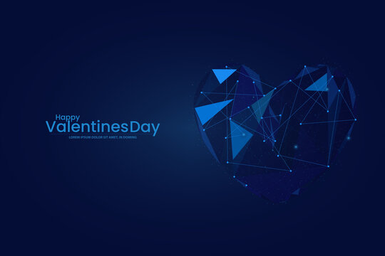illustration of Happy Valentine's day background. Low poly wireframe Happy Valentine's day heart background. Digital Vector illustration. Abstract polygonal
