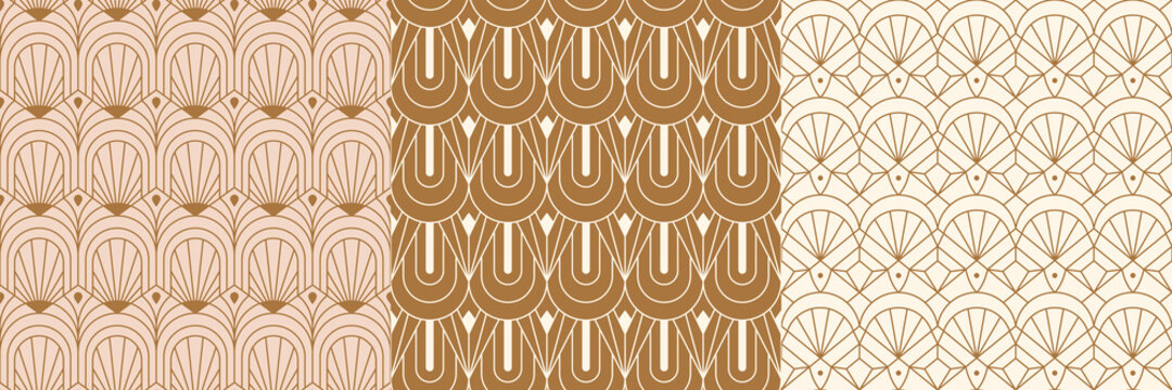 Art Deco Seamless Patterns Set in a Trendy minimal Linear Style. Vector Abstract Retro backgrounds with Geometric Shapes. For packaging, fabric printing, branding, wallpaper, covers