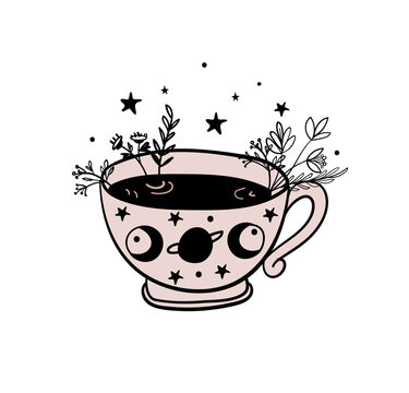 Tea time, a mug of tea, a cup of coffee. Doodle illustration for witch shop, witchcraft herbal potion, color hand drawing isolated on white background. Vector illustration.