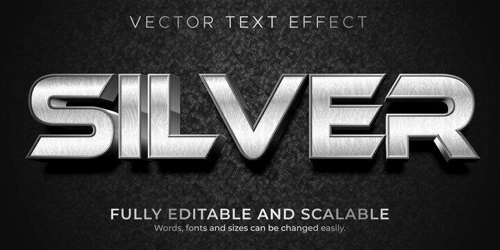 Silver metallic text effect, editable shiny and elegant text style