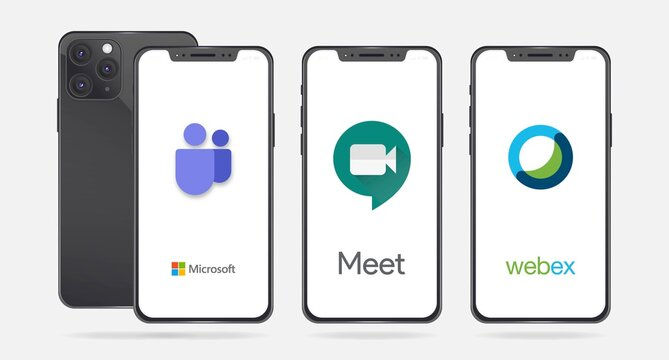 Microsoft Teams, Google Meet and Cisco Webex software on iPhone screen. Meet apps developed by Google and Teams apps developed by Microsoft for group collaboration and real-time meetings