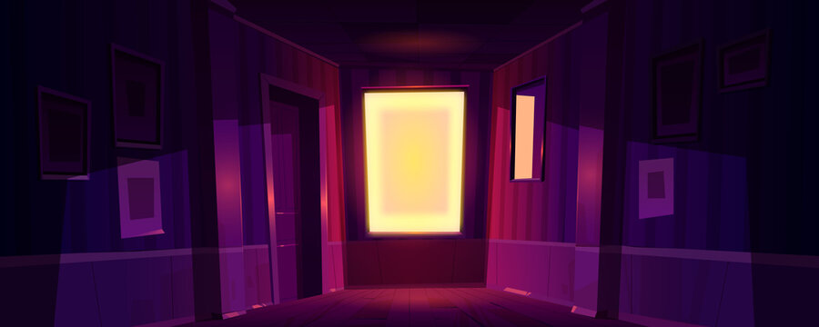Home dark corridor with sunlight from window at morning or evening. Vector cartoon illustration of empty hall interior with glowing window, door, picture frames and mirror on wall