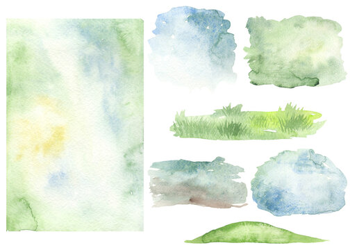 Watercolor set with Easter spring backgrounds, blue, green