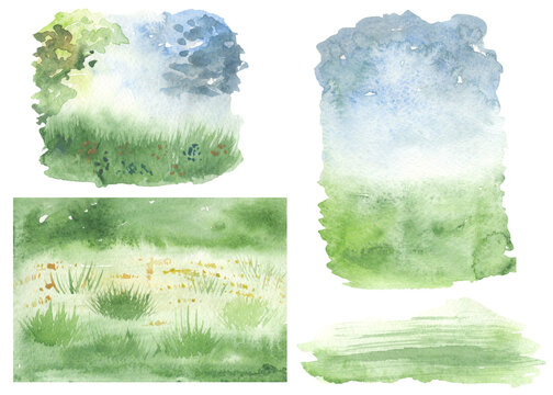 Watercolor set with Easter spring backgrounds, lawn, sky