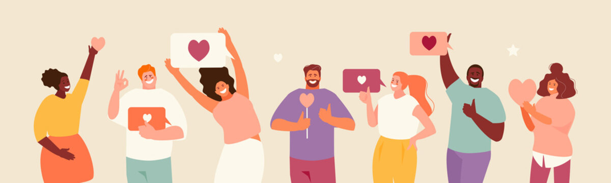 People holding likes. Satisfied customers and followers on social media. Positive feedback. Vector illustration