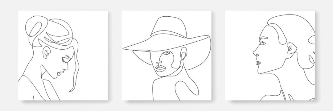 Woman Portrait One Line Drawing Prints Set. Creative Contemporary Abstract Line Drawing. Beauty Fashion Female Faces. Vector Minimalist Design for Wall Art, Print, Card, Poster.
