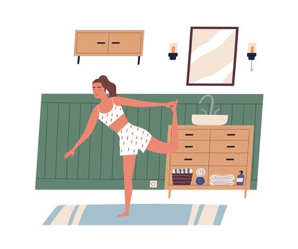 Young modern woman exercising or working out at home. Calm and peaceful female character with closed eyes in yoga posture. Everyday sport routine. Flat vector illustration isolated on white background
