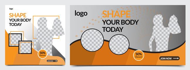 Fototapeta Modern gym web banner template design vector obraz