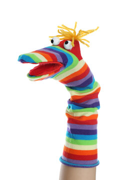 Funny sock puppet for show on hand against white background
