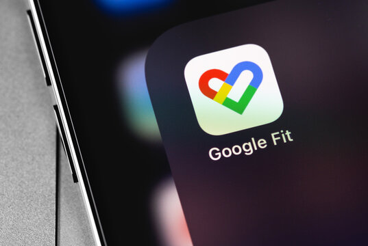 Google Fit app on the screen smartphone. Google Fit is a health tracking platform developed by Google. Moscow, Russia - December 5, 2020