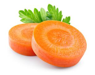 Fototapeta Carrot slice. Carrot slice isolate. Carrots, parsley on white background. Vegetable with herbs. obraz
