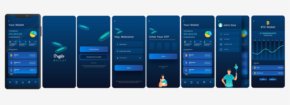 Crypto Wallet Mobile App UI, UX, Screens Including Like As Create Account For Payment Or Transaction.