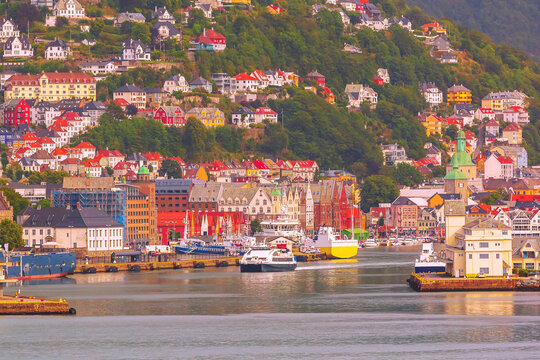 Bergen, Norway summer city view with port