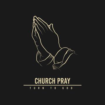 church pray logo design, hand illustration design