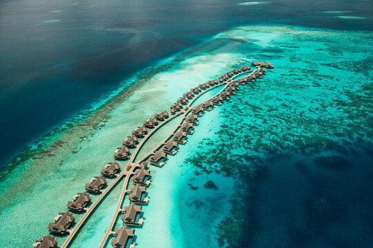 Overwater villas at a luxury island resort