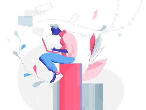 Giovane ragazzo creativo lavora al portatile