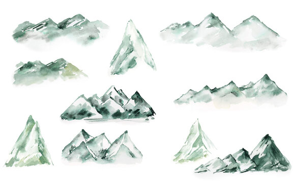 Watercolor mountains , Greenery landscape clipart, Forest tree clipart for woodland wedding, travel design
